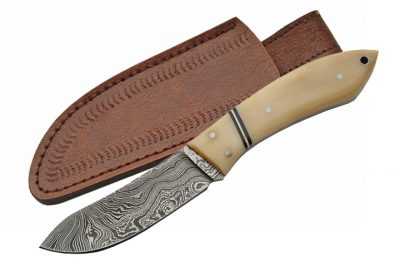 Damascus Knife With Bone Handle