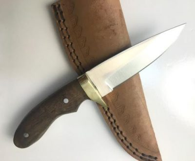 Stainless steel knife with Walnut wood Handle and Brass Guard