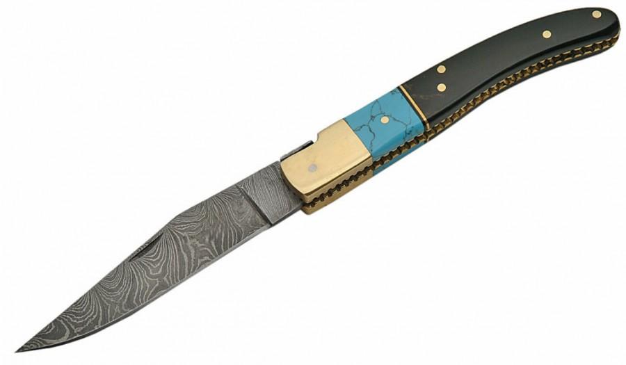 Willow Creek Custom Pocket Knives >> Damascus Pocket Knife 202-BH - Willowcreek Custom Knives