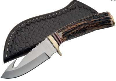 Stainless Steel Guthook Knife with deer antler