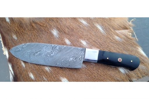 Damascus Kitchen Knife with buffalo horn Handle