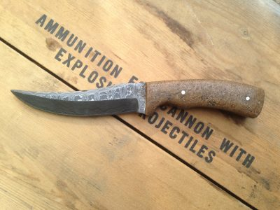 Hand Made Damascus Knife with Crushed Granite Handle