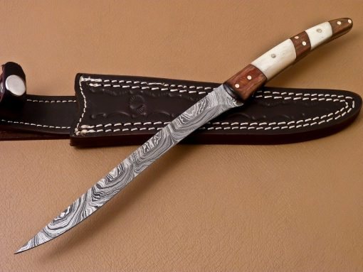 Damascus Filet Knife with wood and bone Handle
