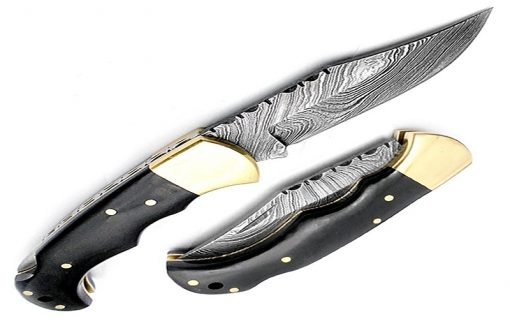 Damascus Buffalo Folding Knife