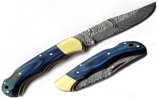 Damascus Blue Folding Knife