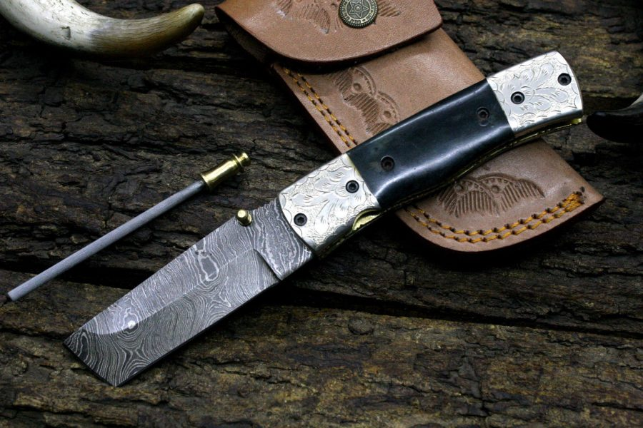 Willow Creek Custom Pocket Knives >> Damascus Tanto Pocket Knife 239 - Willowcreek Custom Knives