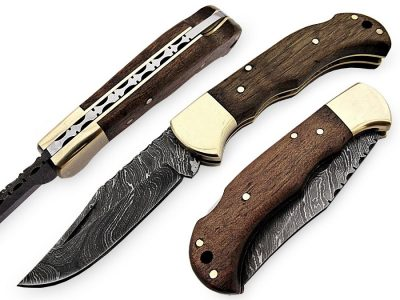 Damascus Walnut Wood Folding Knife