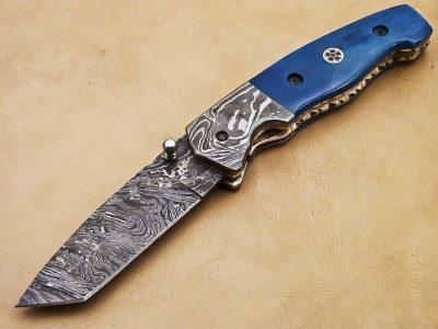 Damascus Folding Pocket Knife with stain bone Handle