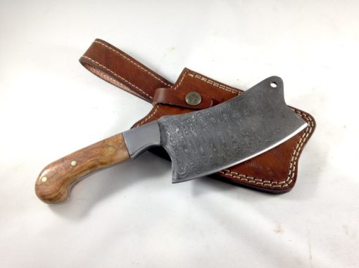 Damascus Kitchen Cleaver withe Black Cherry Burl wood Handle