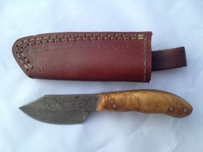 Damascus Skinner Knife with Plum Wood Handle