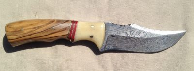 Damascus Knife with bone and olive wood handle