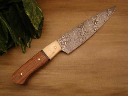 Damascus Kitchen Chef Knife with walnut and bone handle