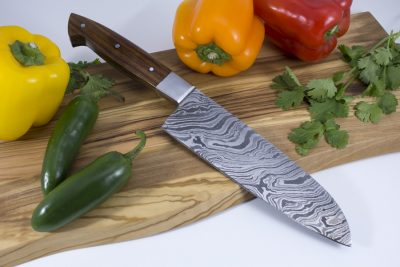 Damascus Kitchen Knife with Walnut Wood Handle