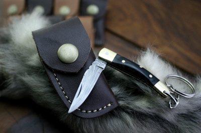 Damascus Mini Pocket Knife with Buffalo Horn