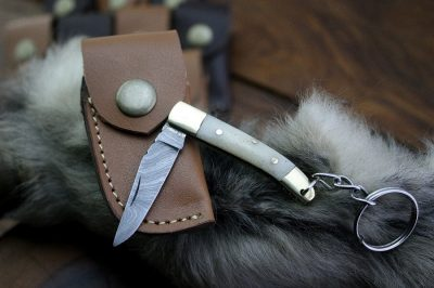 Damascus Mini Pocket Knife with bone handle