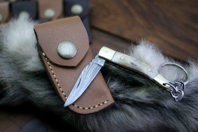 Damascus Mini Pocket Knife with Rams Horn