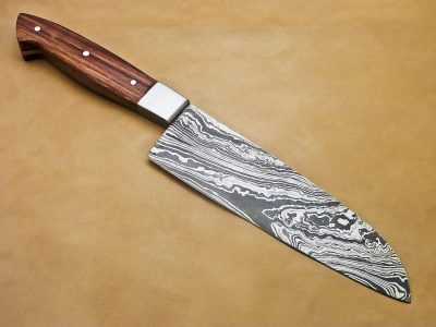 Damascus Kitchen Knife with East Texas Walnut Wood Handle