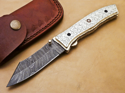 Damascus Blade with Engraved Copper Alloy Handle