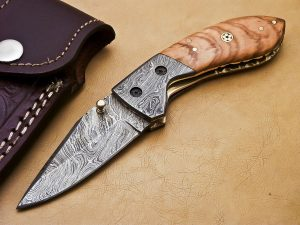 Damascus Pocket Knife Damascus Bolsters and Olive Wood Handle