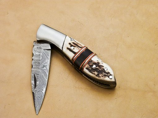 Damascus Damascus Buffalo horn Pocket Knife Antler and wood Handle with Steel bolster