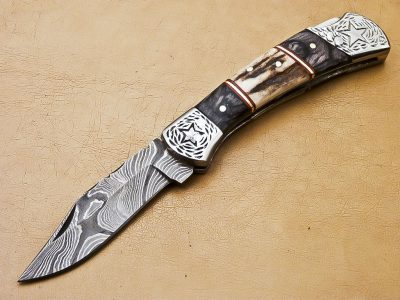 Damascus Pocket Knife Antler and wood Handle with Hand cast Bolsters