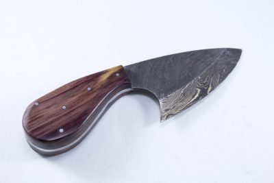 Damascus Skinning Knife with Cedar Wood Handle