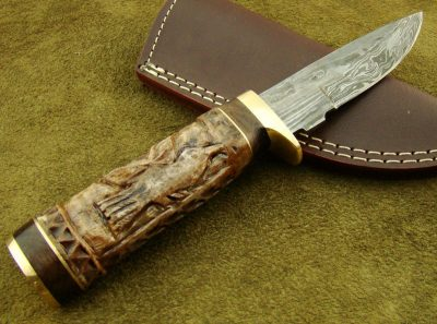 Damascus Knife with Engraved Bone Handle