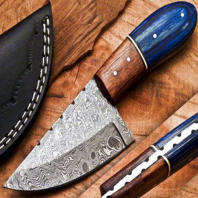 Damascus Skinning Knife with hardwood and olive wood Handle