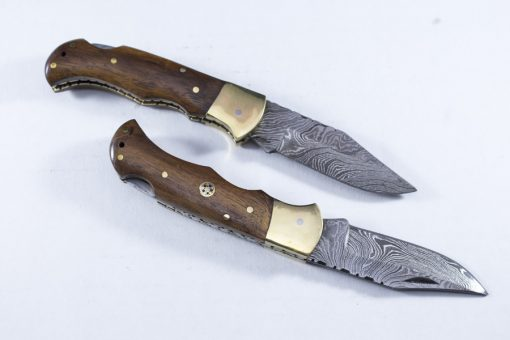Damascus Walnut Wood Folding Knife with Brass Bolster