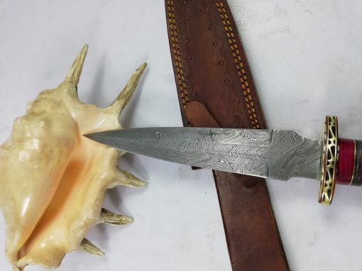 Damascus Dagger with Buffalo Horn handle with red spacers and brass spacers