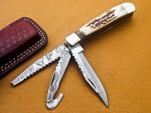 Damascus Pocket Knife Deer Antler Handle with Steel bolster 3 blades