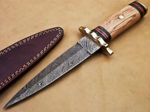 Damascus Dagger with Olivewood handle with colored spacers and brass spacers