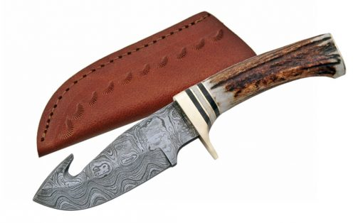 Hand Made Damascus Knife with Deer Antler