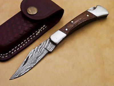 Damascus Micrata horn Pocket Knife