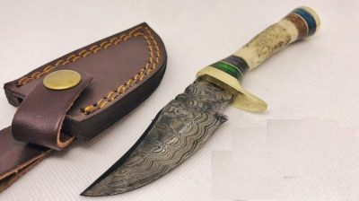 Hand Made Damascus Knife with Deer Antler Handle