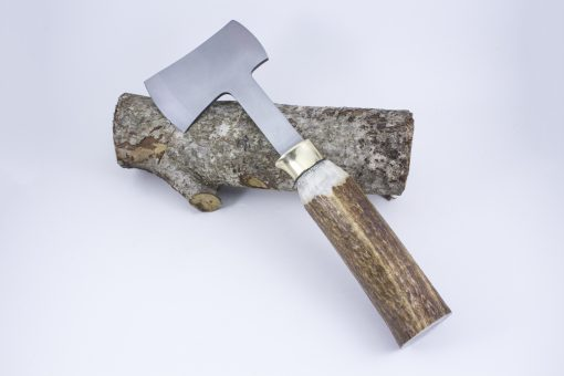 Stainless steel Hatchet with Elk Antler handle