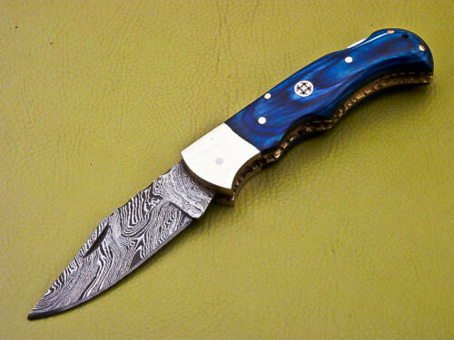 Damascus Blue Folding Knife