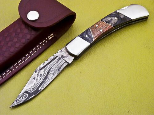 Damascus Pocket Knife Black Wood and brown wood and Steel Bolsters