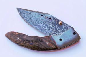Stabilized Cherry Burl Damascus Folding Knife