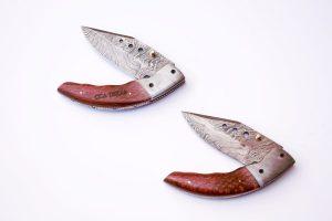 leopard Wood Damascus Folding Knife